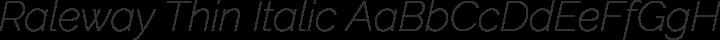 Raleway Thin Italic free font