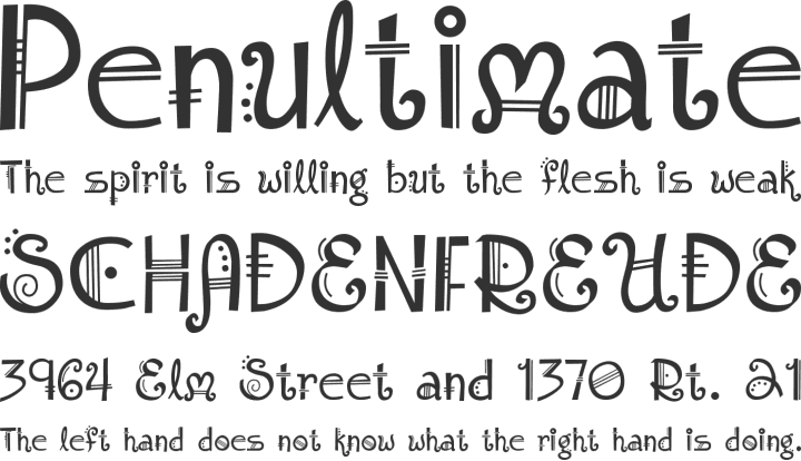 Amadeus Font Phrases