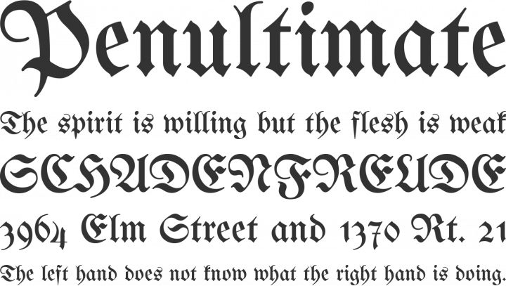 Unifraktur Maguntia Font Phrases