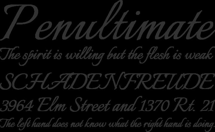 Italianno Font Phrases