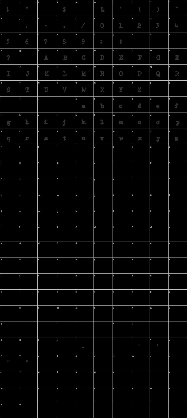 CarbonType Glyph Map