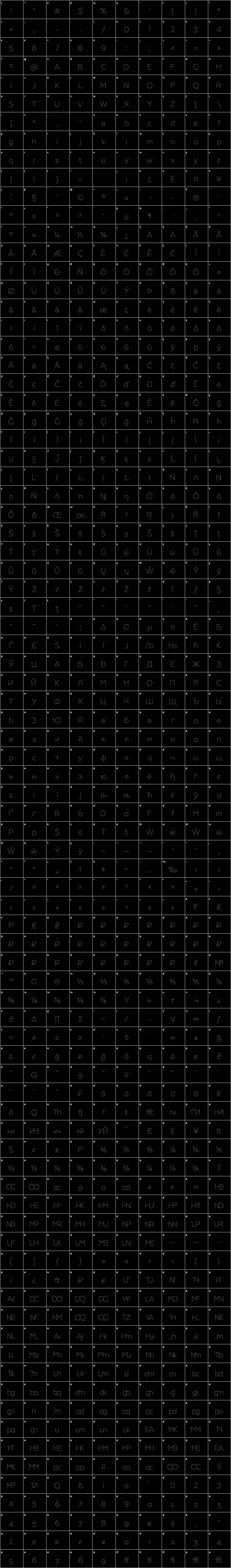 Geometria Light Glyph Map