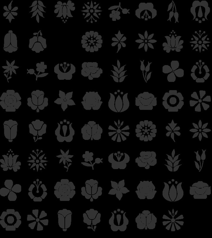 Kalocsai Flowers Dingbat Font Specimen
