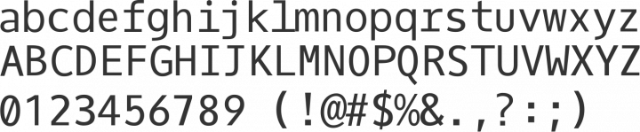 Oxygen Mono Font Specimen