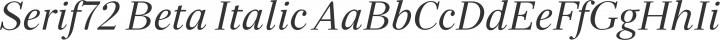 Serif72 Beta Italic free font